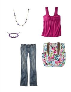 the retro metro in flutter from thirty one jazzes up jeans and a cute top !