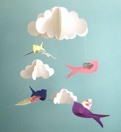 Pájaro móvil, móvil de bebé, aves y nube móvil, móvil, 3D Mobile, Mobile vivero del bebé