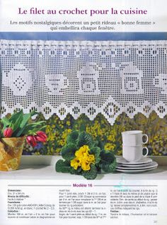Szydełkomania: Kuchnia - com esquema crochet curtains, crochetcurtain, crochet doili, filet crochetchartsdiagram, crochê filet, szydełkomania, cortina crochet