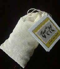 Green Tea Bath Tea    6-8 muslin small drawstring  bags or sealable tea bags  2 tablespoons Green Tea  1/4 cup Parsley  1/4 cup Dried Chamomile Flowers   1 tablespoon Orange Peel dried spice  1/2 cup Epsom Salt    Mix all ingredients and spoon into  bags. Drop into warm running bath  water.