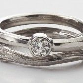 natural handmade wedding ring in white gold with diamond by Barbara Michelle Jacobs