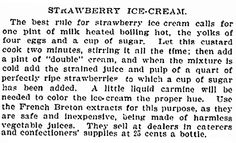 """A recipe for strawberry ice cream, published in the New York Tribune newspaper (New York, New York), 24 June 1897. Read more on the GenealogyBank blog: """"Holiday Genealogy Gift Ideas Pt. 2: Old Fashioned Recipe Book."""" http://blog.genealogybank.com/holiday-genealogy-gift-ideas-pt-2-old-fashioned-recipe-book.html"""
