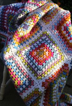 Granny square love. These colors are beautiful.