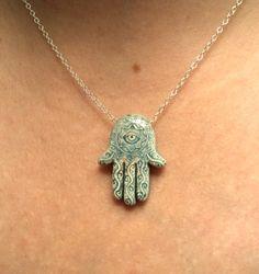 Hamsa hand and evil eye necklace  Raku by blackandwhitejewels, $25.00