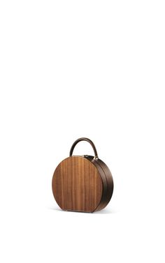 M'O Exclusive Nocciola Bumi Walnut 22cm Handbag by BU Wood for Preorder on Moda Operandi