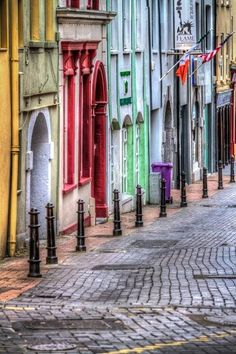 A colorful street in Waterford, Ireland