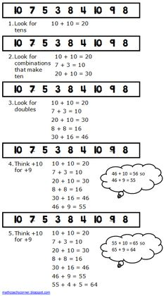 Math Coach's Corner: Strategies for Adding a String of Numbers.  Efficient strategies for adding a series of numbers.