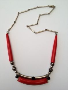 Jakob Bengel chrome & bakelite Art Deco necklace