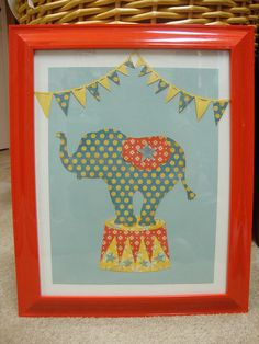 Circus Elephant Wall Art:  Fabric Art!!!  Could DIY this! #socialcircus