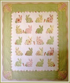 T. in the Burg: Bunny Quilt for a future grandchild sew, bunni quilt, bunni babi, baby quilts, babi quilt, crafti stuff, applique easter, burg, babi stuff