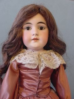 """21"""" early old antique German long face bisque head leather Kestner Doll"""