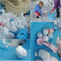Snow sensory, using a water table and making mini snowmen inside.