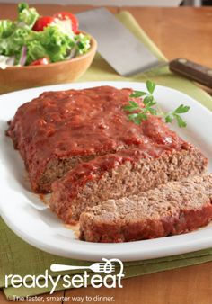 Saucy Meatloaf... A hearty dinner-time favorite, this meatloaf only has 5 ingredients and can be prepped in 15 minutes. A dinner your family will love and one that will free up your day!
