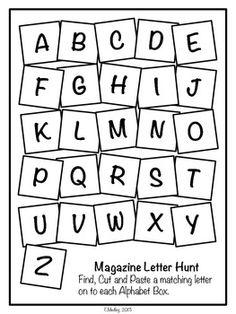 FREEBIE Magazine Letter Hunt Worksheets, Literacy Center