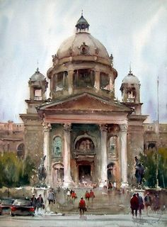 djukar watercolour, parliament, landscap, dusan djukaric, architectur, belgrad, art, paint, djukar watercolor