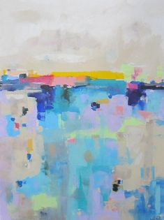 Large Colorful Abstract Landscape Original Acrylic Painting -Bright Horizon 36 x 48