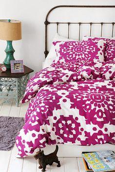 Radiant Orchid Bedding {via lifeasarts.blogspot.com}