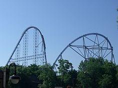 action : global village's fastest roller coasters MILLENNIUM FORCE , CEDAR POINT , SANDUSKY , OHIO , USA