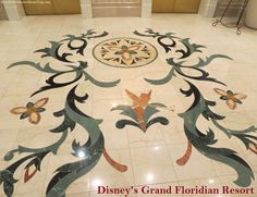 Tinker Bell - marble floor inlay in Disney's Grand Floridian Resort lobby, near the elevators.. #TinkerBell #GrandFloridian #Disneyworld #WDW