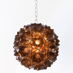 Worlds Away Venus Pendant Capiz Shell Floral Brown
