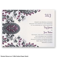 Dynamic Damask Letterpress Wedding Invitation at Invitations By David's Bridal. Pictured in Black but available in additional colors. #davidsbridal #weddinginvitations