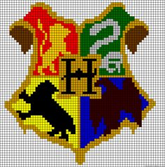 Harry Potter Hogwarts crest perler bead.  owen might go for something along these lines, or something medieval