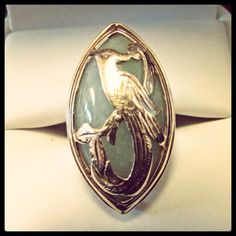 Mings Phoenix gold overlay on jade ring