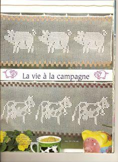 oink - filet crochet kitchen curtains, pig
