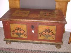 I WANT!!! Antique, Pine Blanket Chest in original paint. 1700's. Lock and key intact and working. Original hand-forged strap hinges.