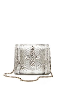 Daktari Crystal-Embellished Metallic-Python Bag by Shourouk Now Available on Moda Operandi