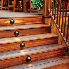 deck stairs with oil-rubbed-bronze dome lights