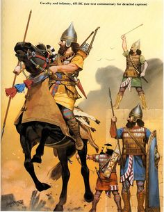 Assyriens. 600 av JC. Illustration par Angus Mc Bride.