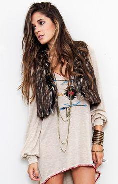 Tunic dress with faux fur vest