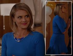 Jane's blue flared trumpet dress and plate necklace on Happy Endings http://wornontv.net/10926