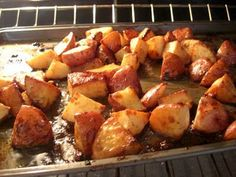 Honey Roasted Red Potatoes.  Quick, Easy and sound delicious!  Cut up 1 pound of red potatoes in 1 inch chunks. Lay them on a rimmed baking dish. Top with some finely diced onion. In another bowl, mix your melted butter, honey, dry mustard, salt and freshly ground black pepper. Pour over potatoes and mix thoroughly trying to coat all potatoes. Bake in 375 degree oven for 40-45 minutes.