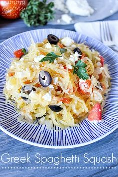 Greek Spaghetti Squash - perfect vegetable side dish (or entree) that is fresh, healthy, low-carb, gluten free, meat-free and delicious!