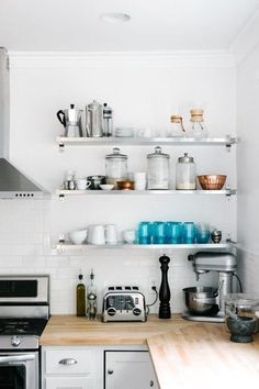 cabinets, kitchens, open shelves, butcher blocks, wood countertops, kitchen remodel, kitchen shelving, open shelving, stainless steel