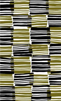 Green and Black stripes - drawn and digital pattern - Sarah Bagshaw