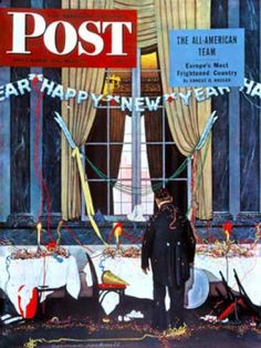 """Saturday Evening Post - 1945-12-29: """"Party's Over"""" or """"Happy New   Year"""" (Norman Rockwell)"""