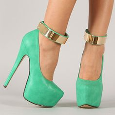 Mint Green Pumps + Gold Ankle Cuff