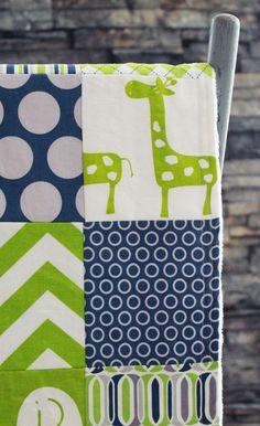 Baby Blanket, Modern Baby Quilt - Green Giraffe via Etsy