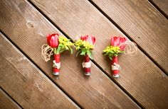 Shotgun shell wedding boutonnieres. Imagine how much Devin would LOVE this