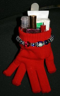 Cute Christmas gifts for anyone. Fill dollar store gloves with various items: Bath  Body works hand sanitizer