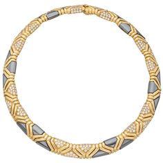 1stdibs | BULGARI Gold, Hematite & Pavé Diamond Collar Necklace