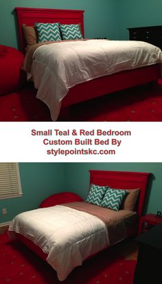 Custom built full-sized bed in this brightly colored teal and red bedroom.  Bed and design by stylepointskc.com