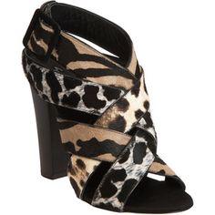 Giuseppe Zanotti Cross Band Sandal at #BarneysNewYork #fashion #shoes #animalprint #sandal #heels