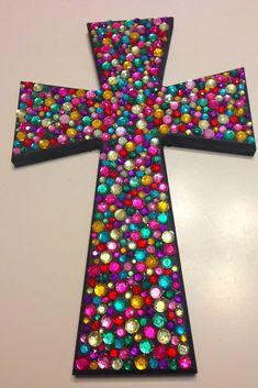 wooden cross, black paint, multicolored rhinestones, E6000 glue