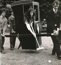 1981 Nigella Lawson and the Oxford Dangerous Sports Club play Sedan Chair croquet. Image from my copy of October 2013 TATLER