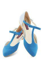 Bow Your Socks Off Flat in Blue | Mod Retro Vintage Flats | ModCloth.com