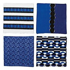 Blue and white Nova Cocktail Napkins – Assorted Set of 4